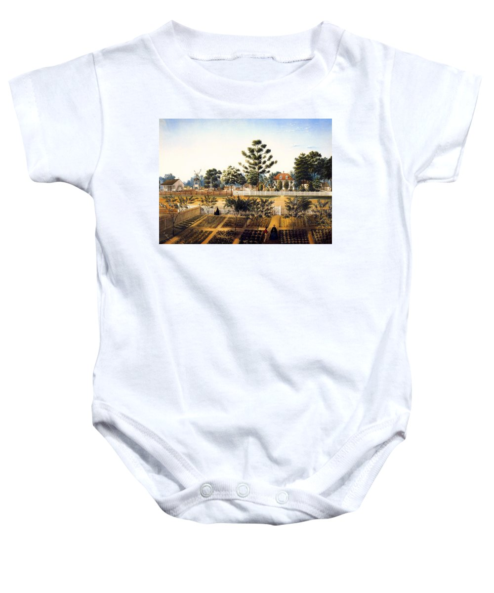 Painting Baby Onesie featuring the painting Bois De Fleche Plantation Louisiana 1861 by Mountain Dreams
