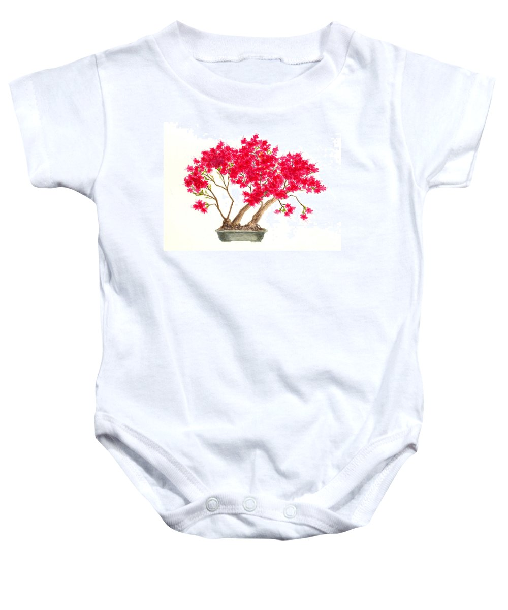 Japan Baby Onesie featuring the painting Bonsai Tree - Kurume Azalea by Michael Vigliotti