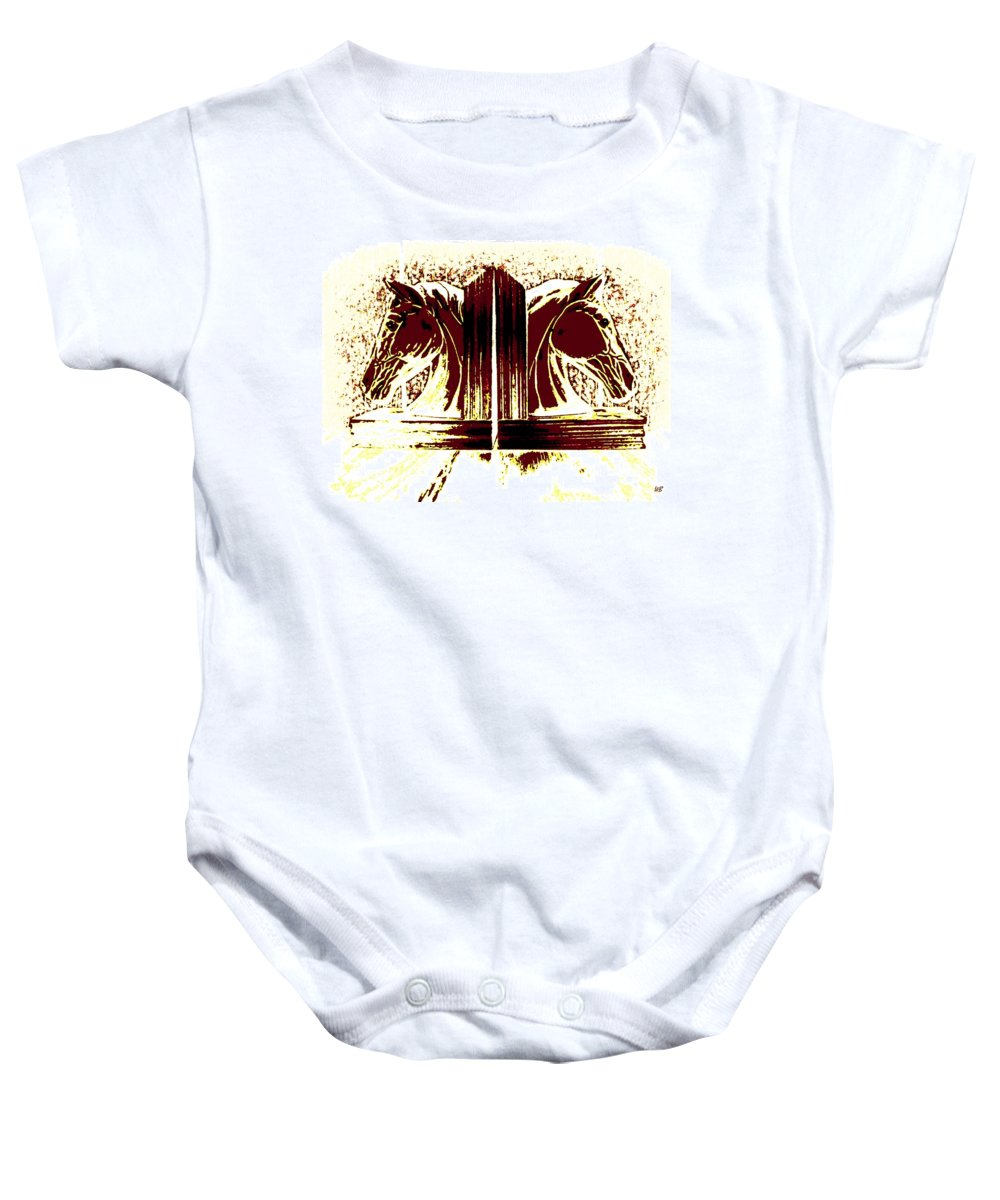 Horses Baby Onesie featuring the digital art Bookend Buddies by Will Borden