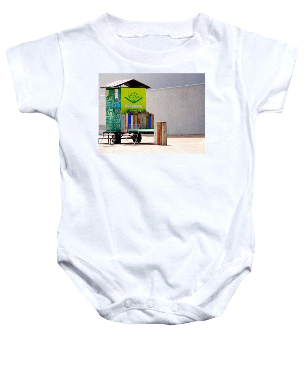 Dallas Baby Onesie featuring the photograph Borrow And Enjoy by Larissa Pirogovski