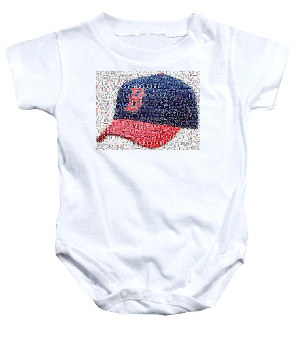 Boston Baby Onesie featuring the digital art Boston Red Sox Cap Mosaic by Paul Van Scott