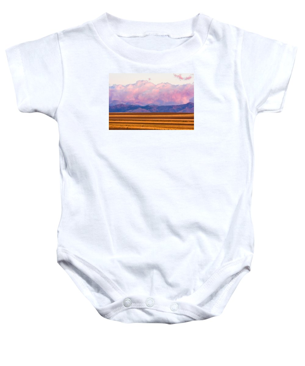 \nature Photography\ Baby Onesie featuring the photograph Boulder County Farm Fields At First Light Sunrise by James BO Insogna