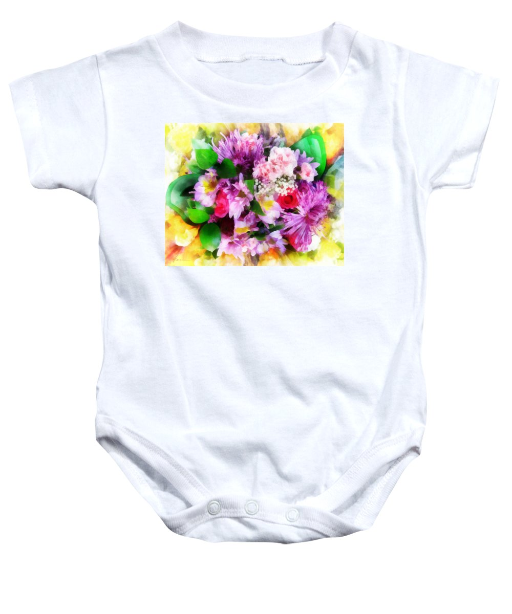 Flowers; Bouquet; Blooms; Buds; Plants; Love; Romance; Carnations; Chrysanthemums; Roses; Freesias Baby Onesie featuring the digital art Bouquet Of Purple by Francesa Miller