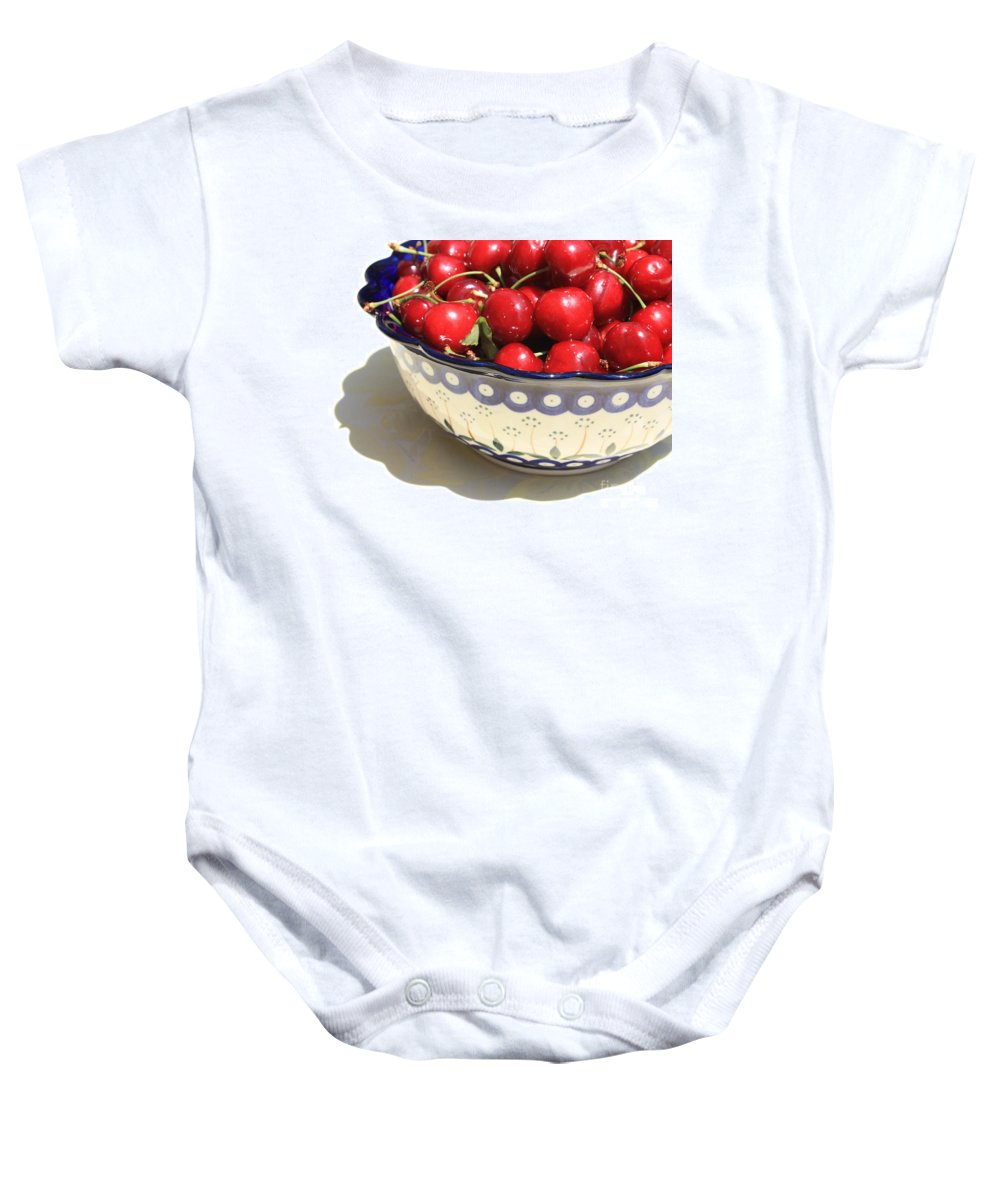 Cherries Baby Onesie featuring the photograph Bowl Of Cherries With Shadow by Carol Groenen