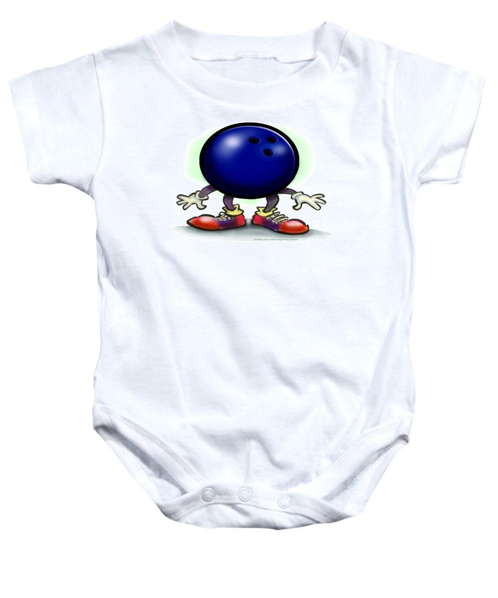 Bowl Baby Onesie featuring the greeting card Bowling by Kevin Middleton
