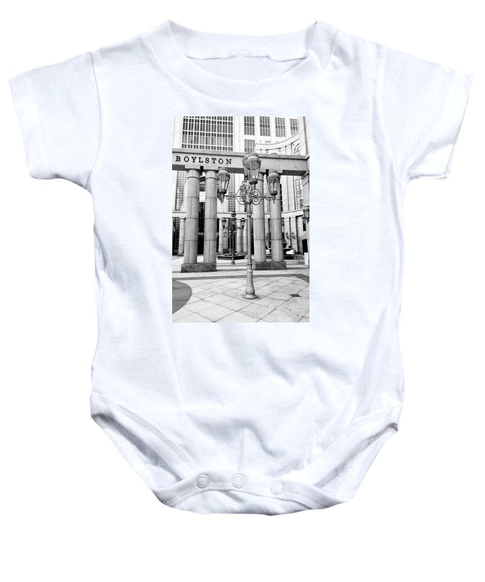 Boston Baby Onesie featuring the photograph Boylston Lights by Greg Fortier