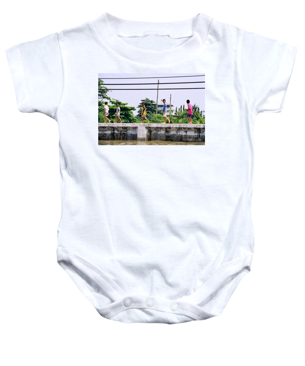 Children Baby Onesie featuring the photograph Boys In Bangkok by Mary Rogers