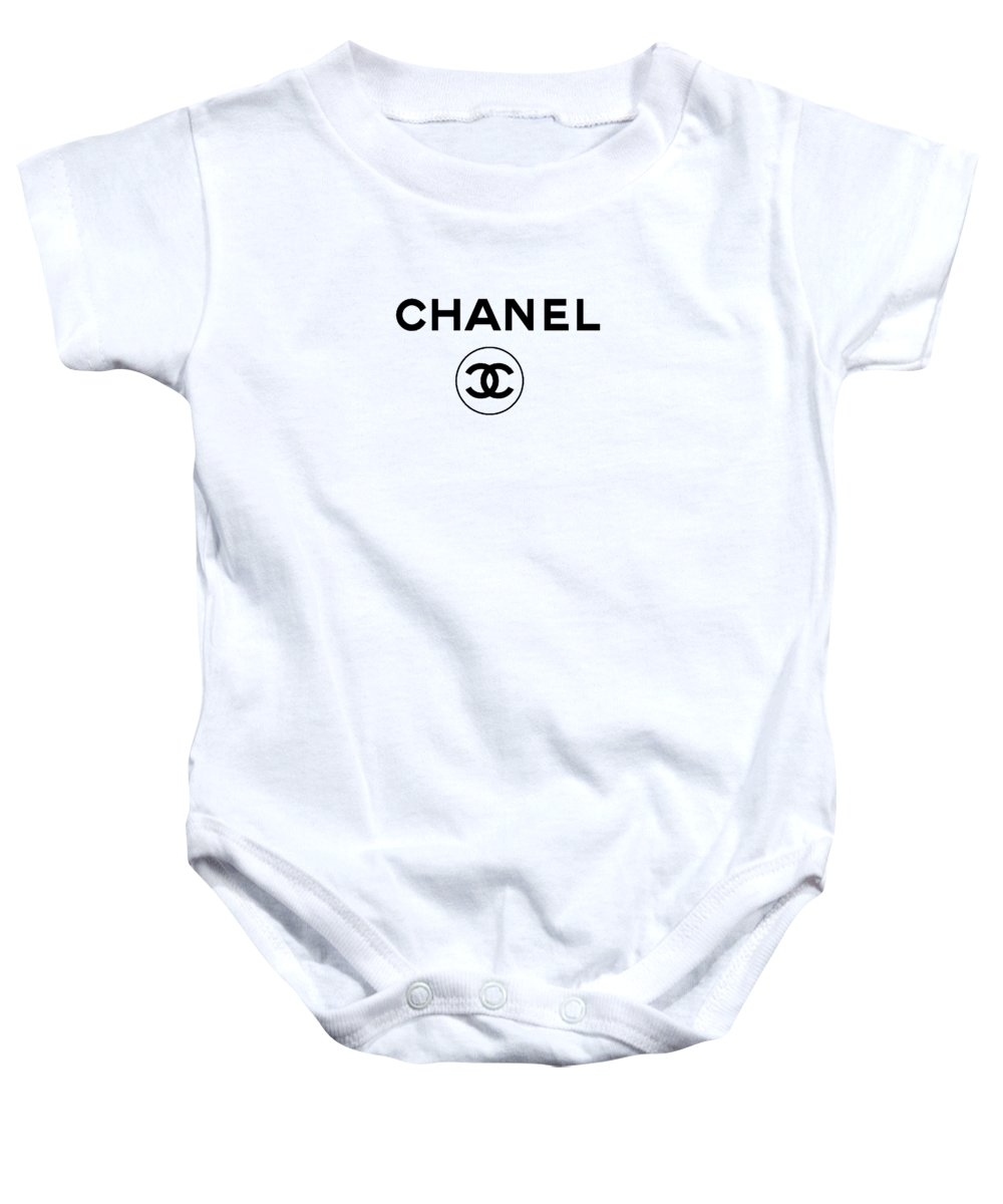 Dior Baby Onesie featuring the drawing Brand Chanel by Cindy Ell