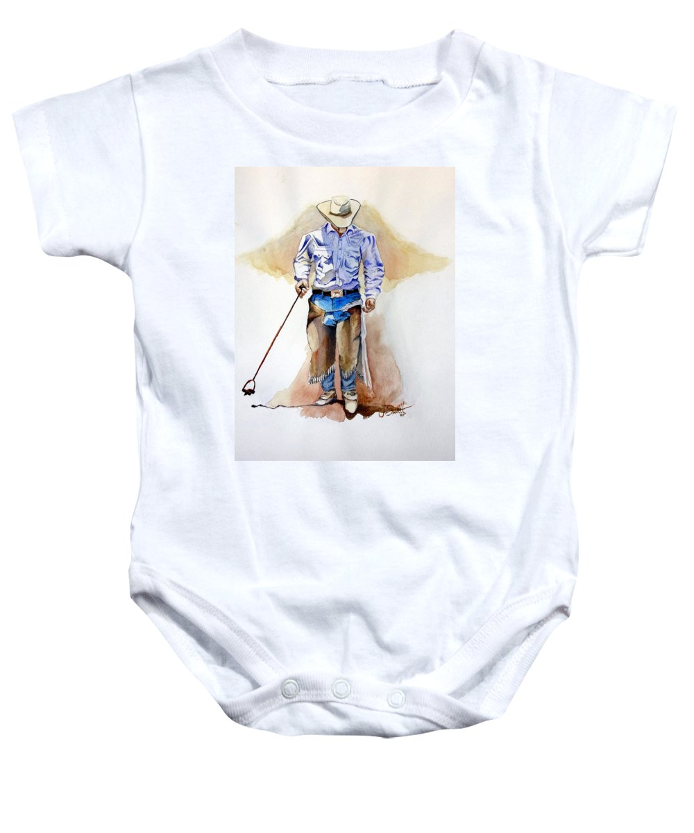 Western Baby Onesie featuring the painting Branding Blisters by Jimmy Smith