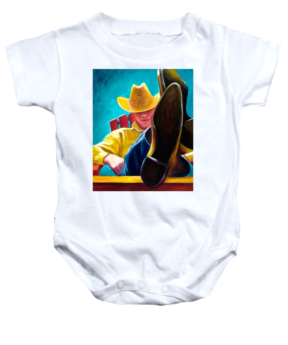 Western Baby Onesie featuring the painting Break Time by Shannon Grissom