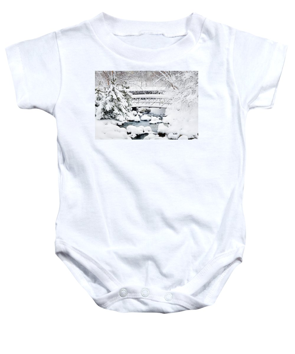 Footbridge Baby Onesie featuring the photograph Bridge In Winter Snow by Francesa Miller