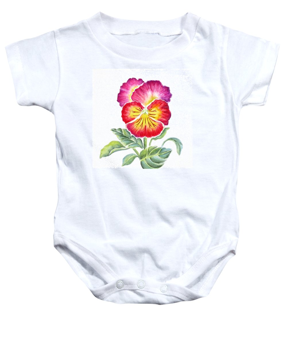 Bright Pansy Baby Onesie featuring the painting Bright Pansy by Deborah Ronglien