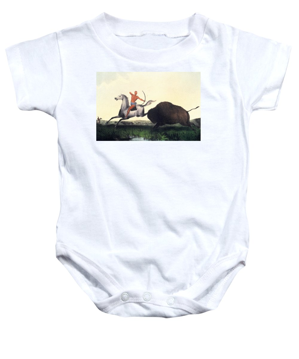 1832 Baby Onesie featuring the photograph Buffalo Hunt, 1832 by Granger
