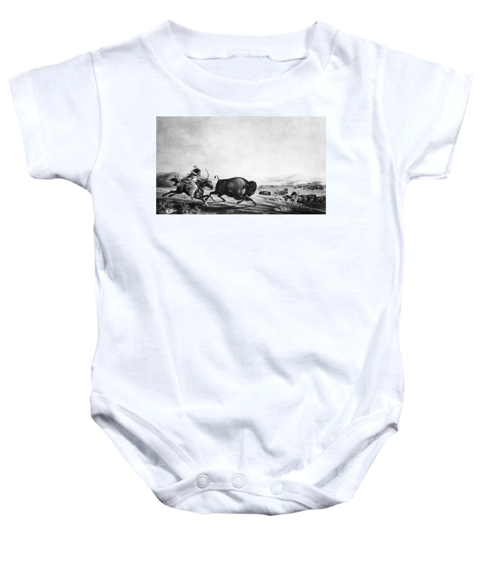 1830 Baby Onesie featuring the photograph Buffalo Hunt, C1830 by Granger