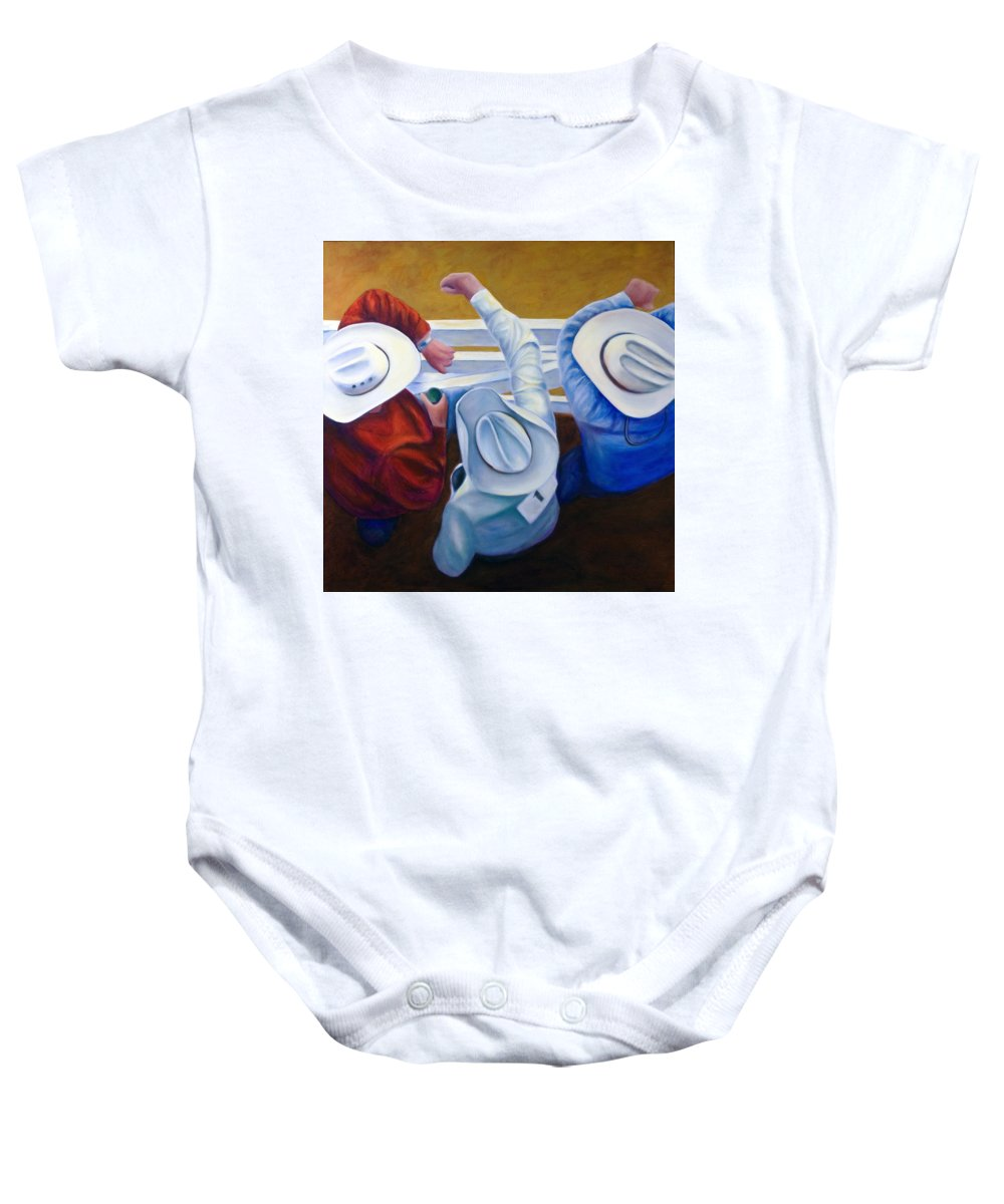 Western Baby Onesie featuring the painting Bull Chute by Shannon Grissom
