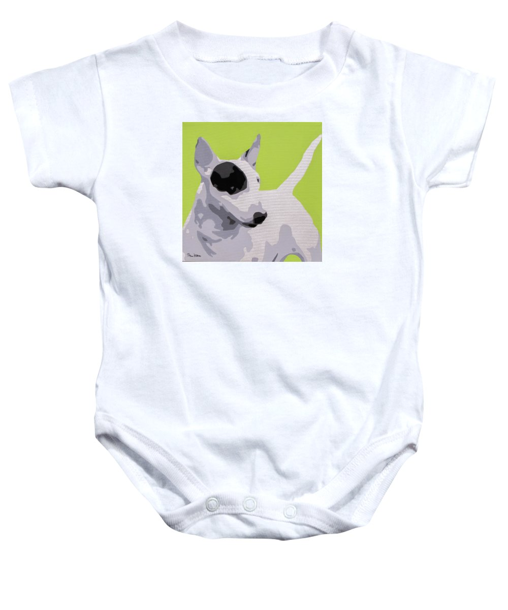 Dogs Baby Onesie featuring the painting Bull Terrier by Slade Roberts