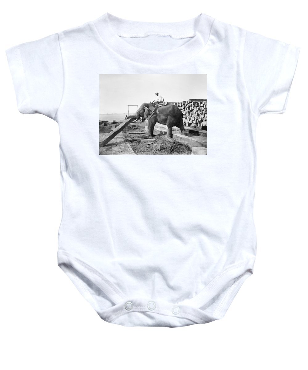 20th Century Baby Onesie featuring the photograph Burma: Elephant by Granger