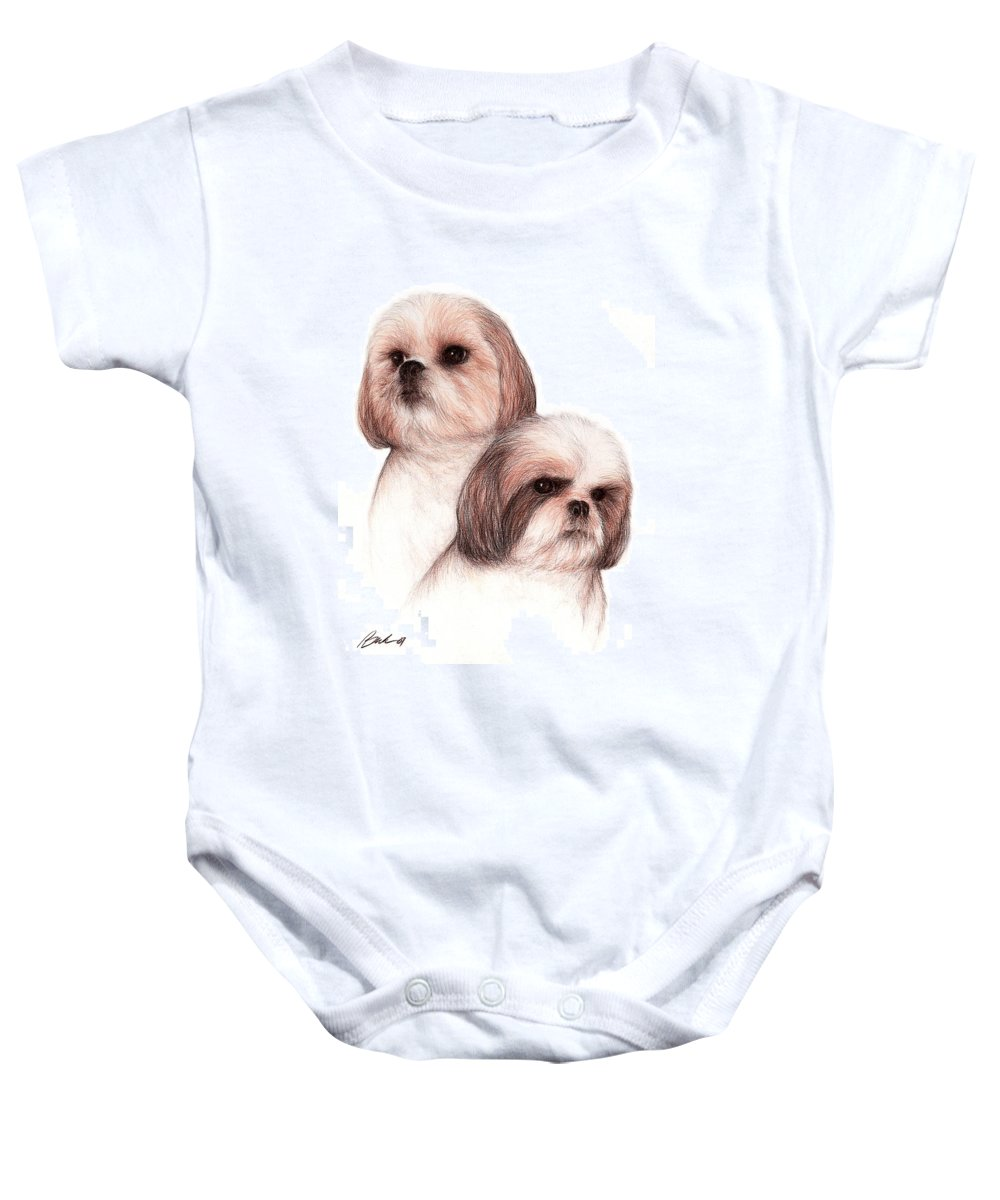 Dog Art Bruce Lennon Animals Baby Onesie featuring the painting Butch And Bruser by Bruce Lennon