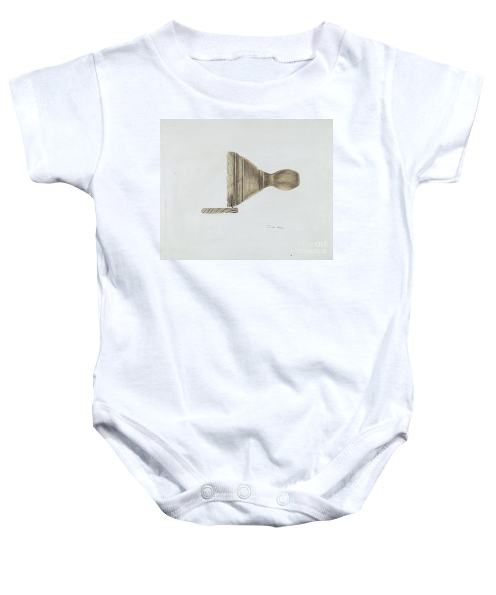 Baby Onesie featuring the drawing Butter Mold by John Hall