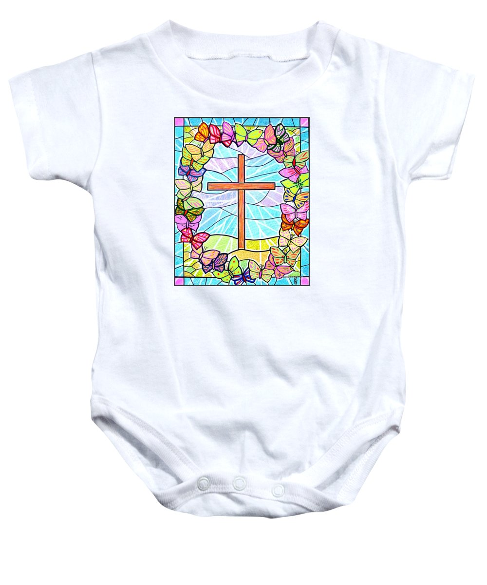 Easter Baby Onesie featuring the painting Butterflies And Cross by Jim Harris