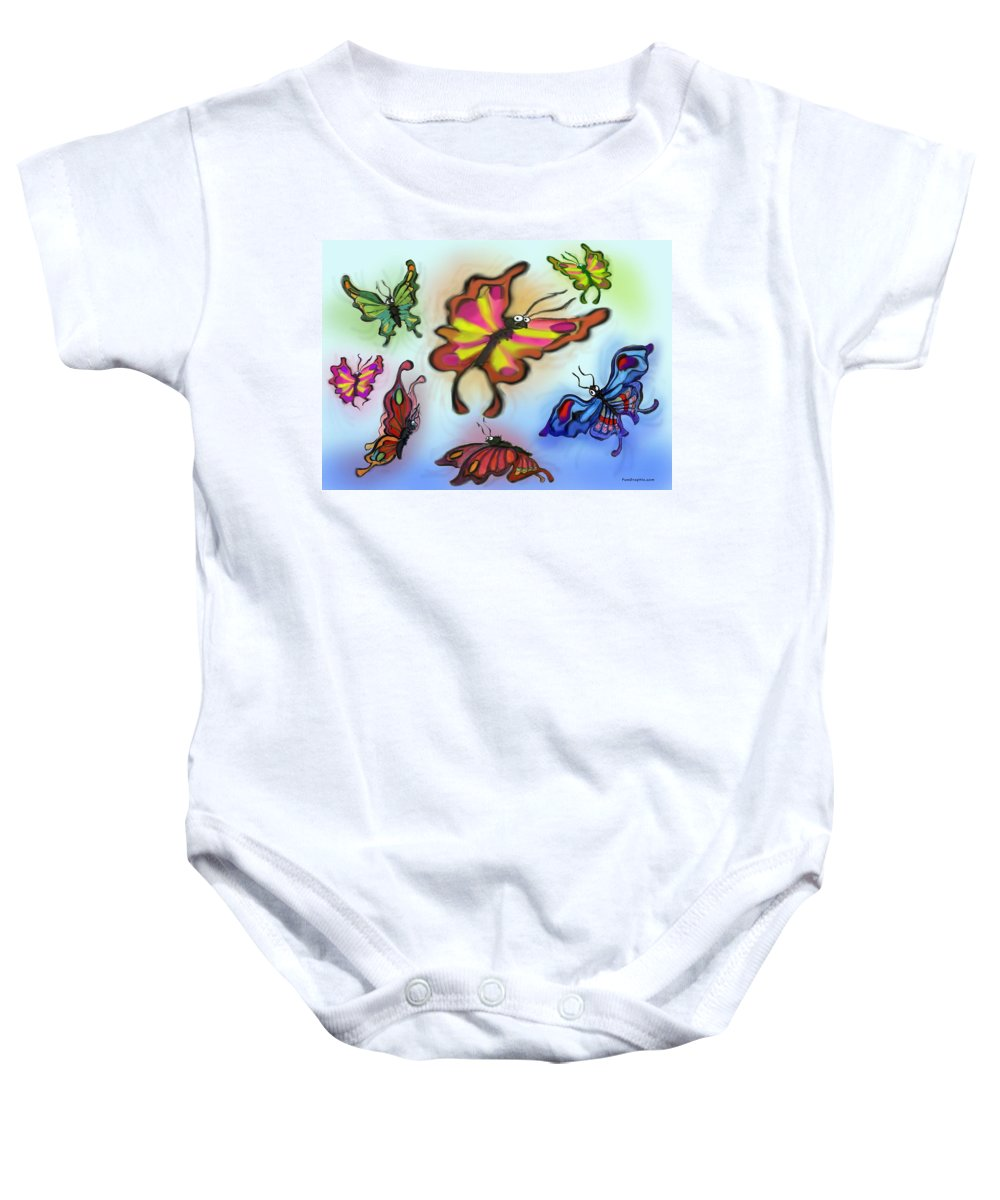 Butterfly Baby Onesie featuring the digital art Butterflies by Kevin Middleton