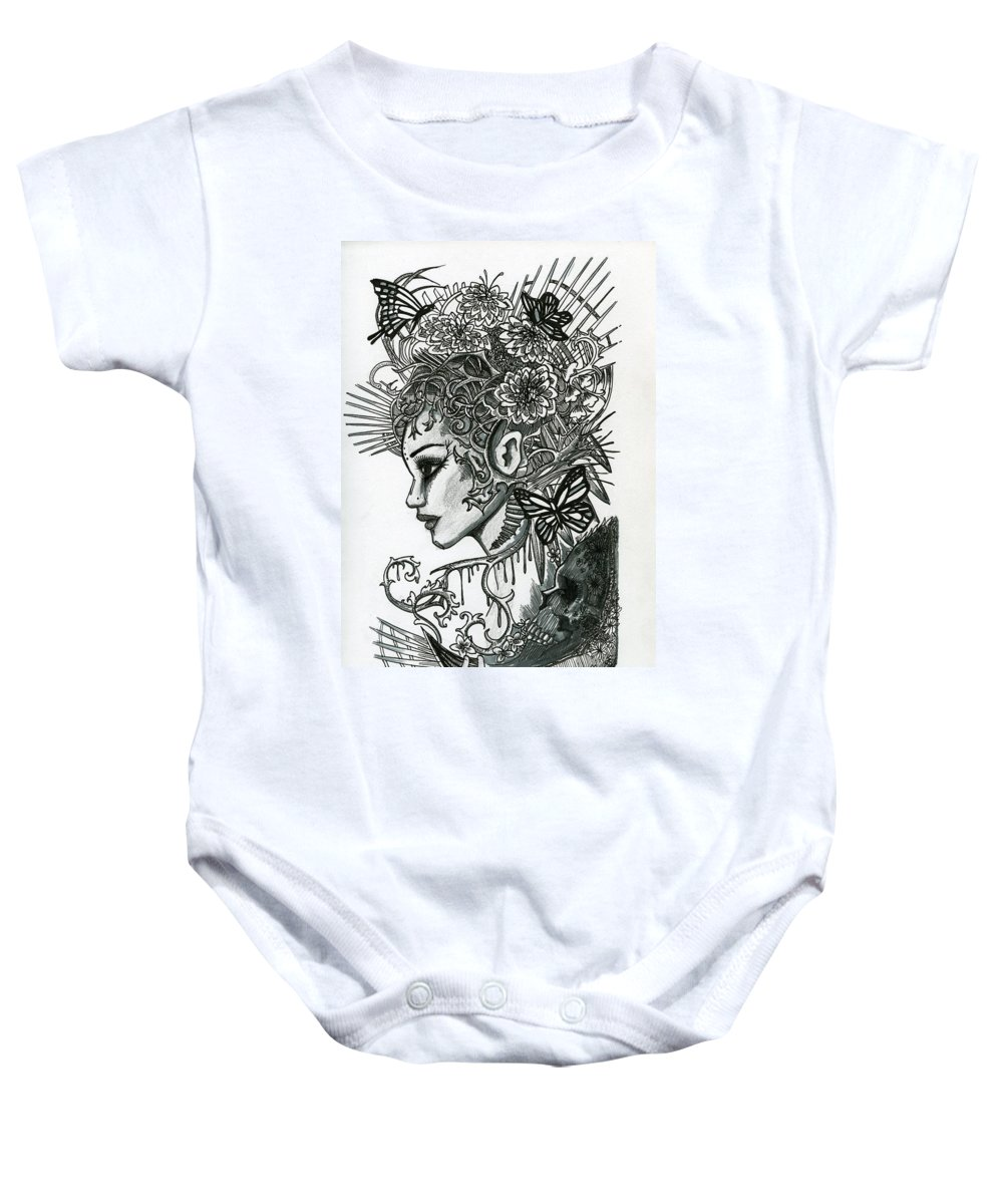 Indian Baby Onesie featuring the drawing Butterfly by Kita Liosatos