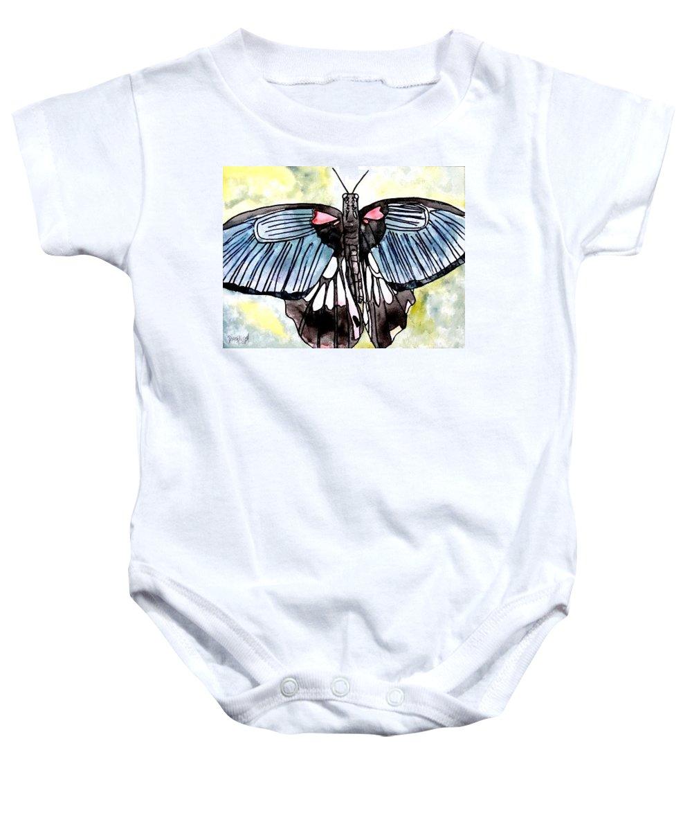 Watercolor Baby Onesie featuring the painting Butterfly Macro by Derek Mccrea