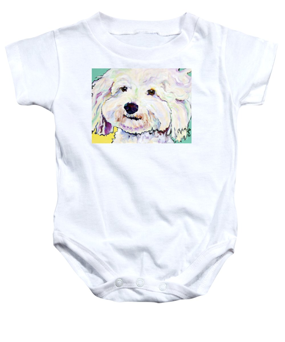 Bischon Baby Onesie featuring the painting Buttons  by Pat Saunders-White
