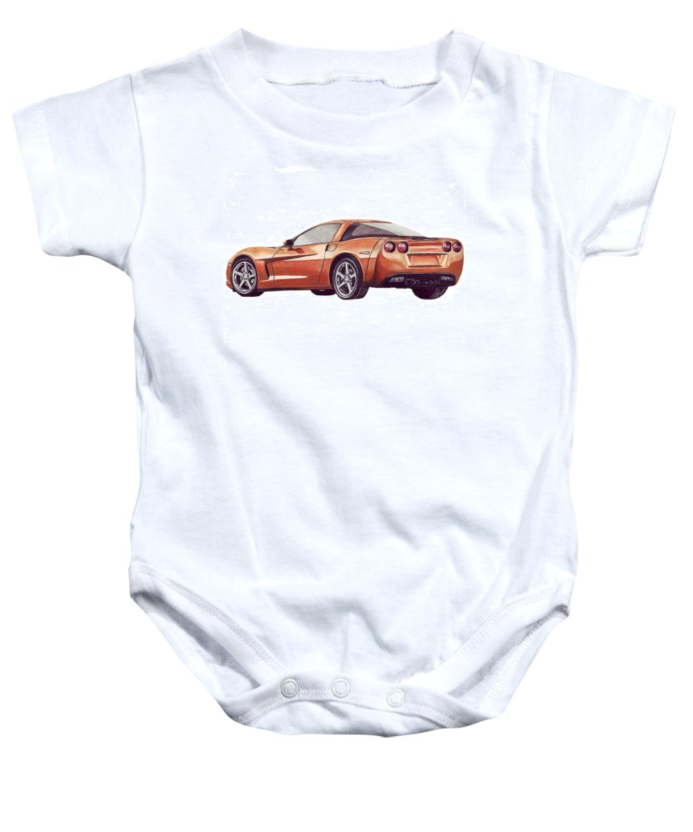 Corvette Baby Onesie featuring the drawing C6 by Kristen Wesch