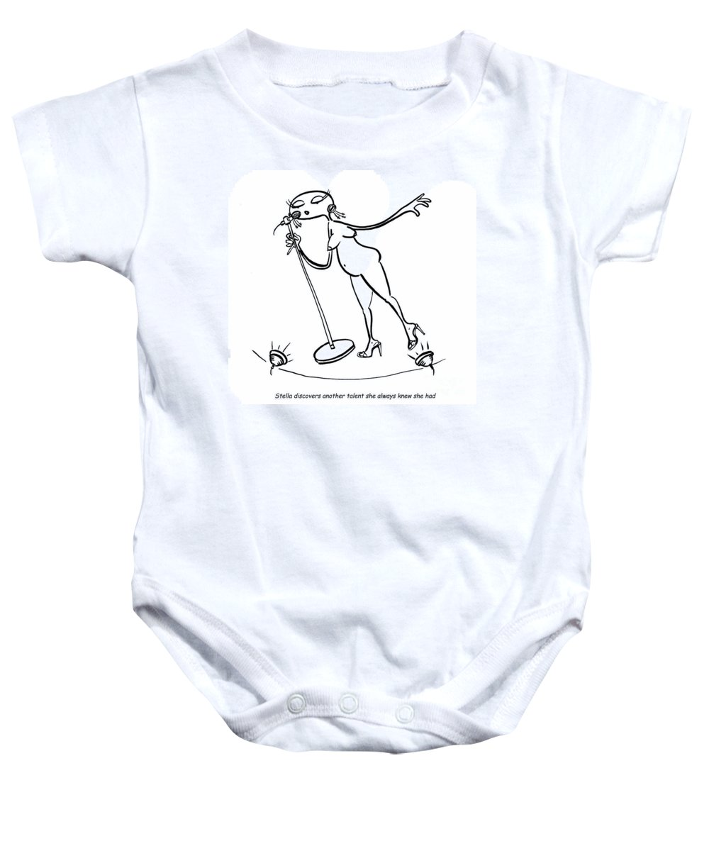Stella Baby Onesie featuring the digital art Caberet Stella by Leanne Wilkes