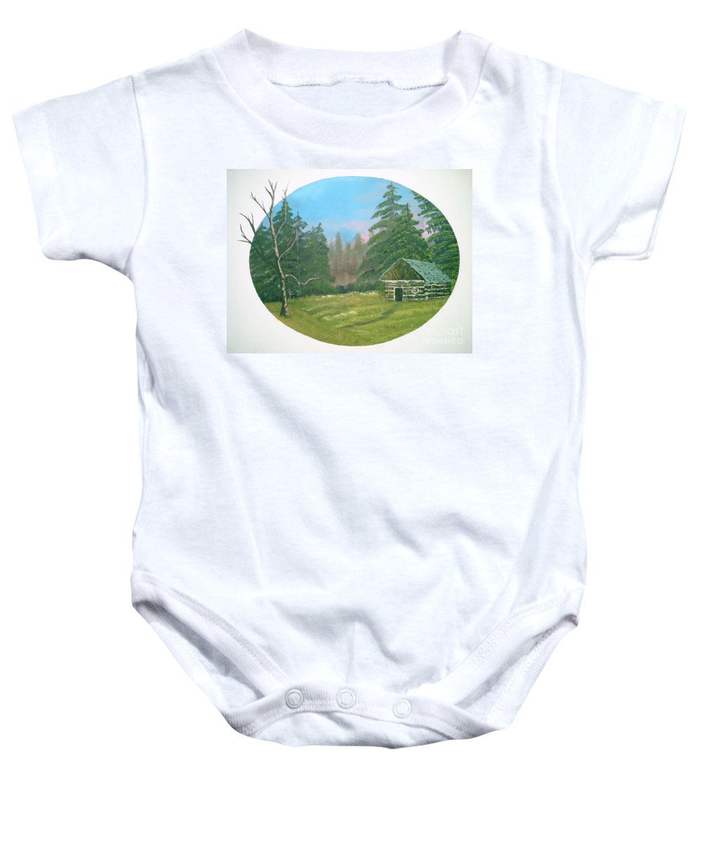 Landscape Baby Onesie featuring the painting Cabin In The Meadow by Jim Saltis