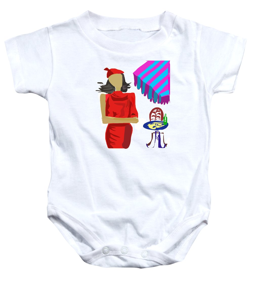 Red Dress Baby Onesie featuring the digital art Cafe Chic by Anthony Robinson