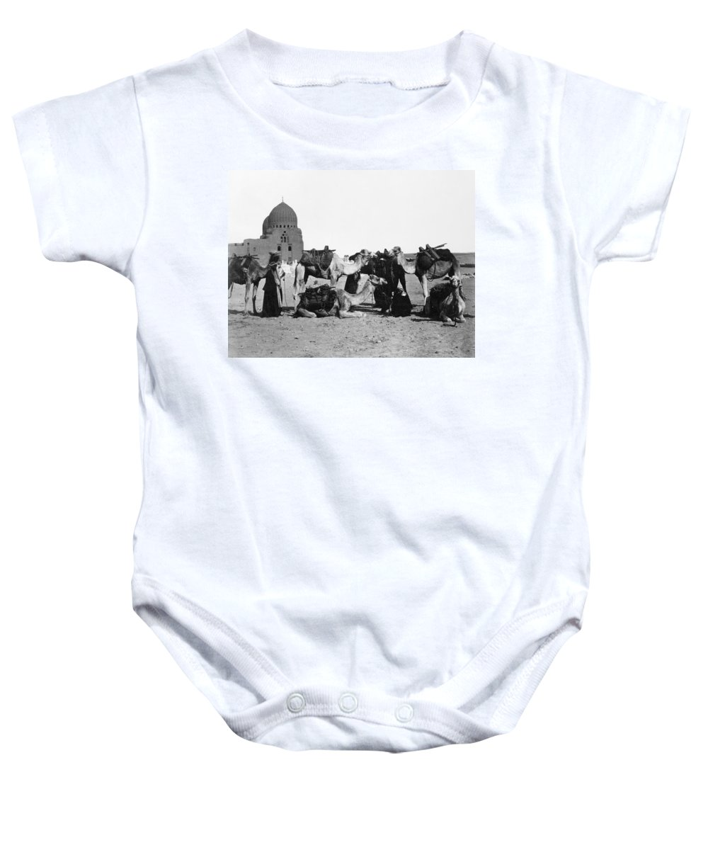 19th Century Baby Onesie featuring the photograph Cairo: Group Of Camels by Granger