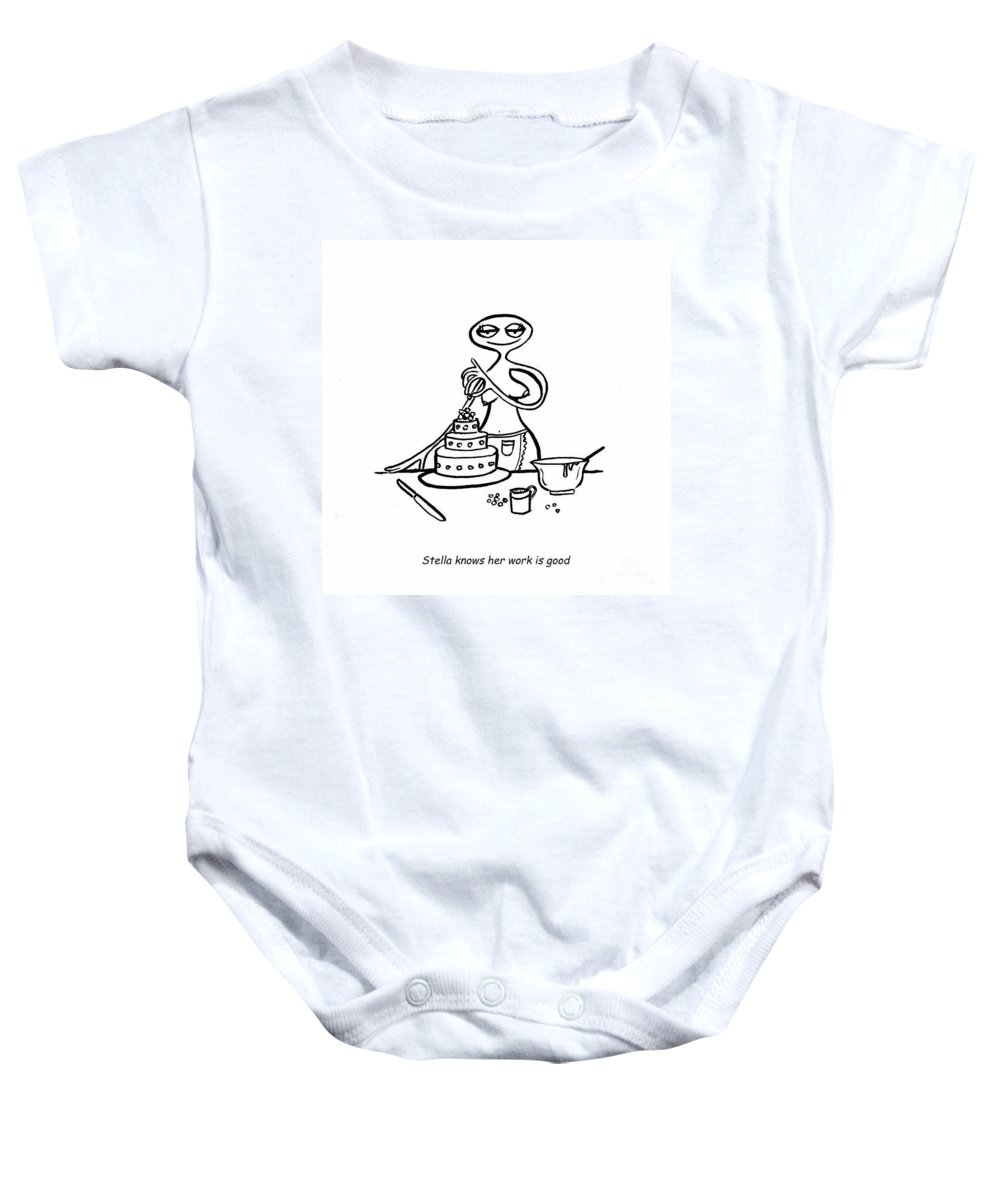 Stella Baby Onesie featuring the digital art Cake Competitor by Leanne Wilkes