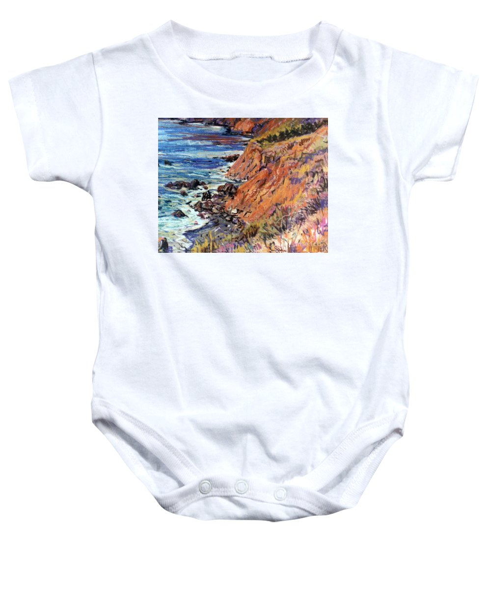 Big Sur Baby Onesie featuring the drawing California Coast by Donald Maier