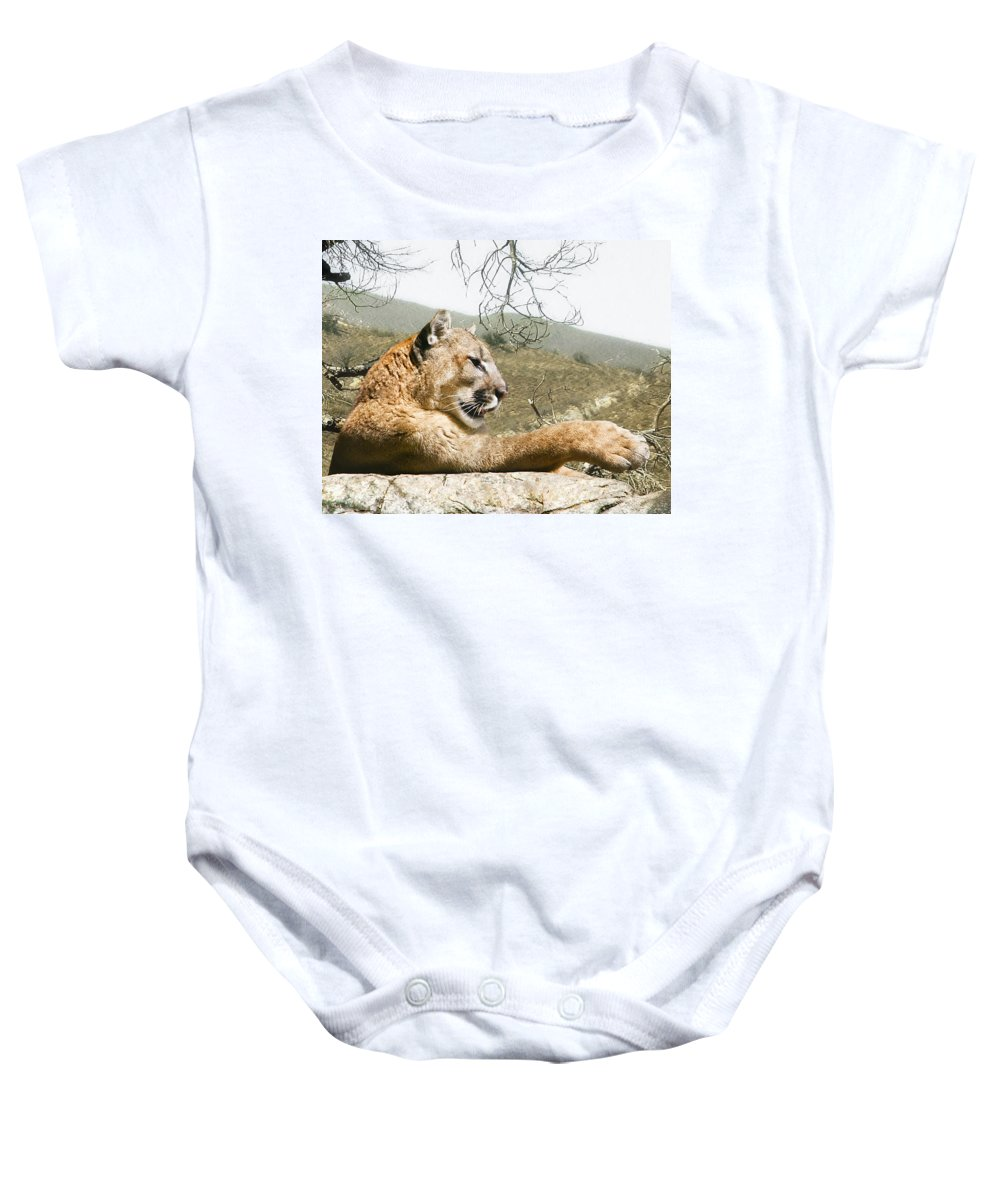 Cougar Baby Onesie featuring the photograph California Cougar by Lynn Andrews