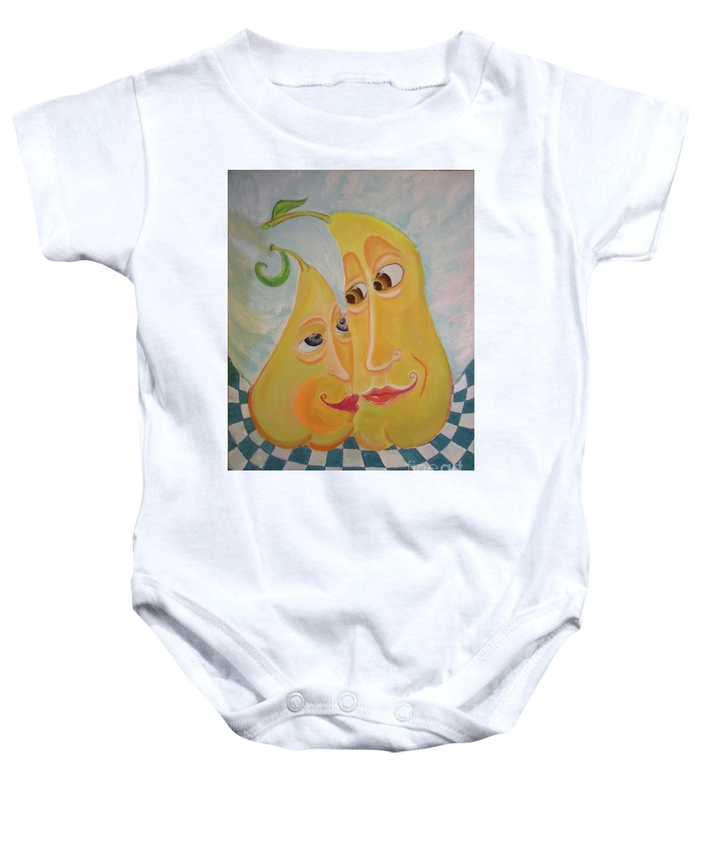 Pear Baby Onesie featuring the painting Can I Just Stay Near You? Pear Love by Gregory Milgram