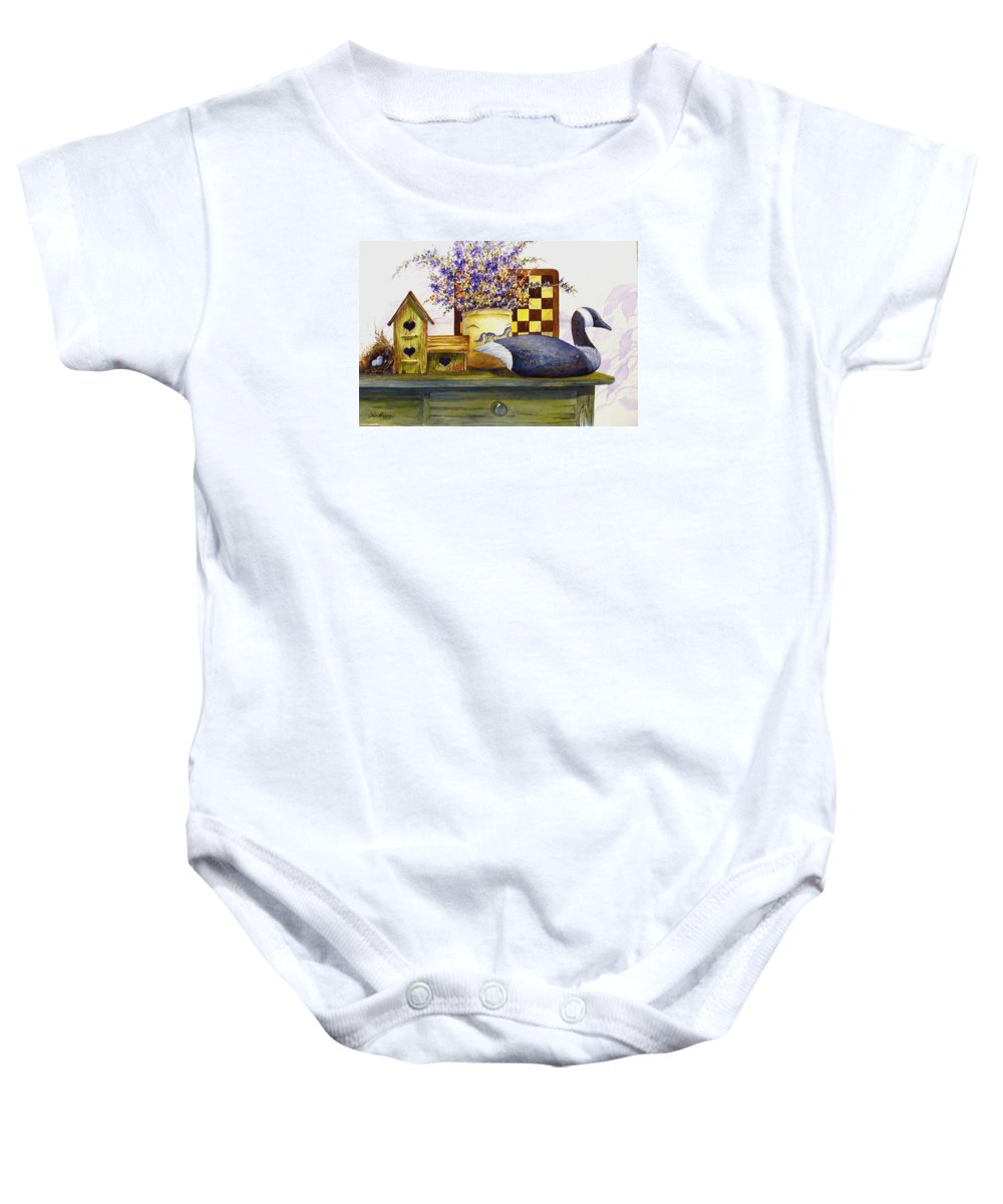 Canada Goose;birdhouse;bird Nest;crock;checkerboard;still Life;country Still Life; Baby Onesie featuring the painting Canada And Checkerboard by Lois Mountz