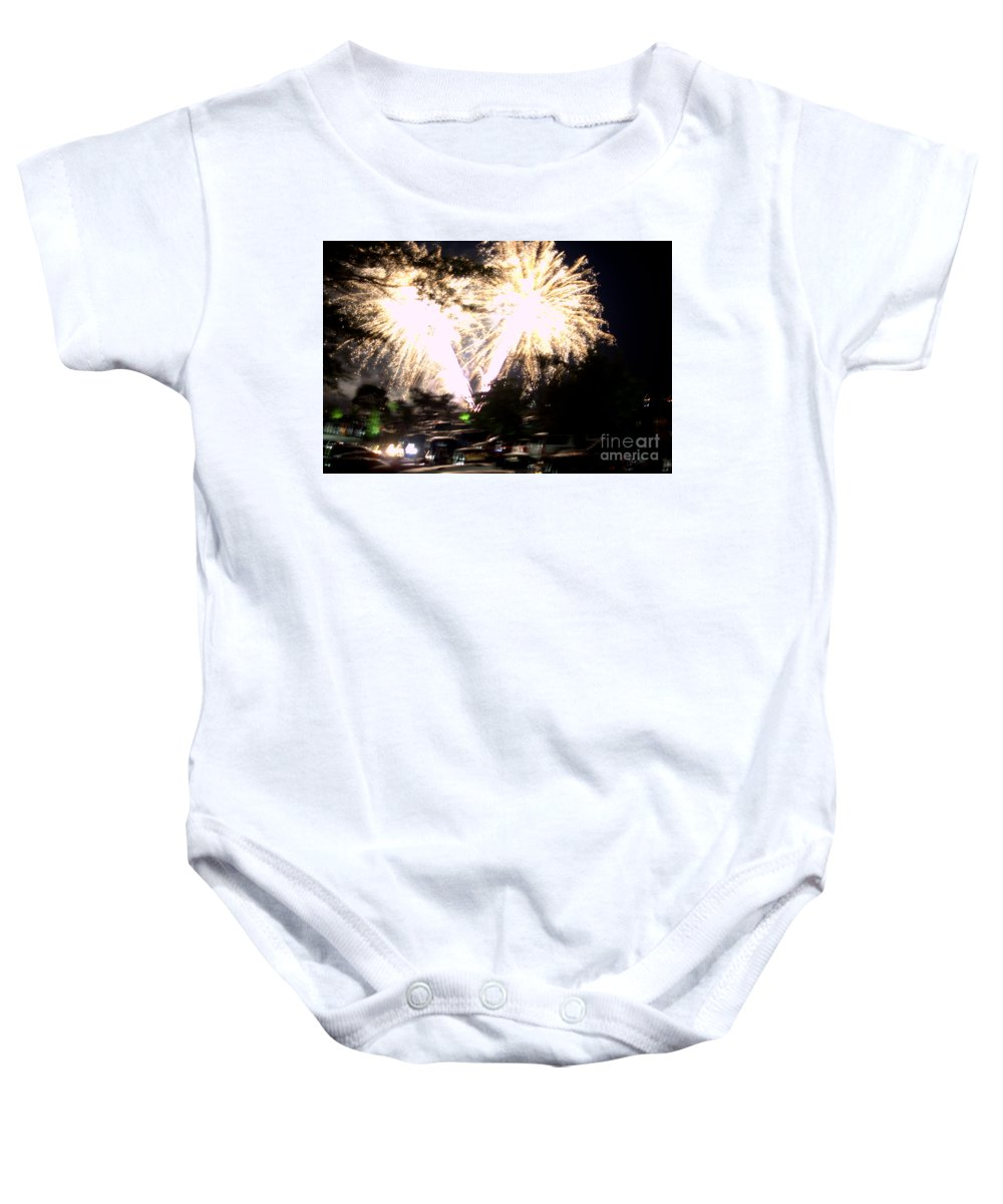 Grand Bend Baby Onesie featuring the photograph Canada Day 150 Lights 2 by John Scatcherd
