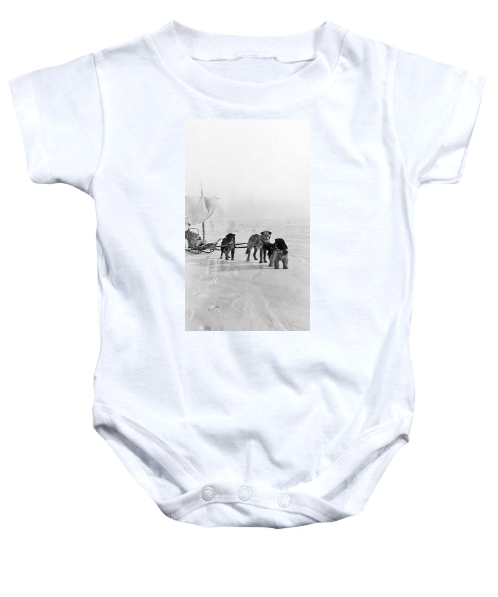20th Century Baby Onesie featuring the photograph Canada: Dogsledding by Granger