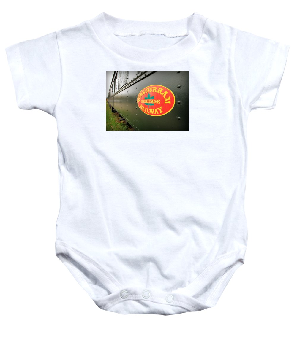 York Baby Onesie featuring the photograph Canadian Heritage Train by Valentino Visentini
