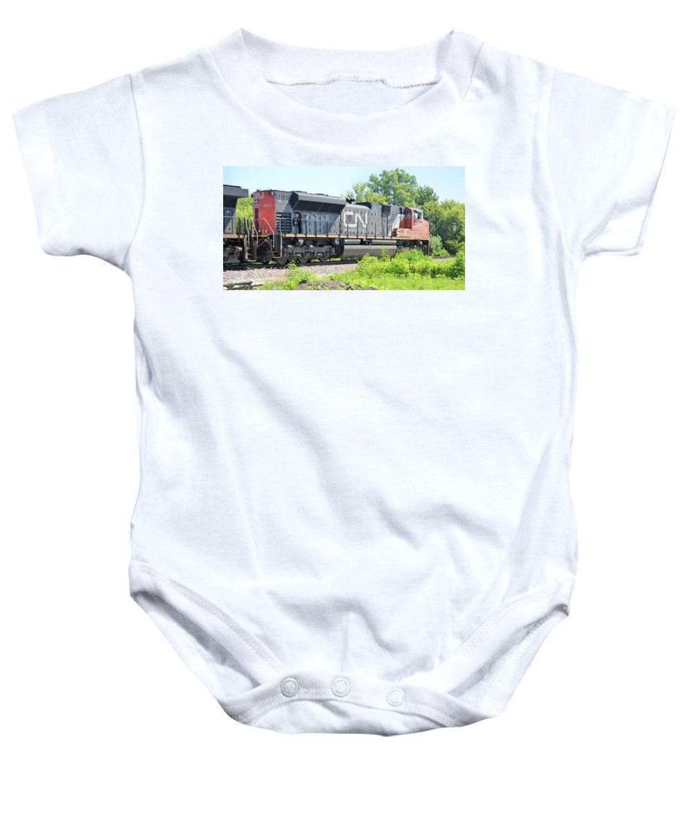 Train Baby Onesie featuring the photograph Canadian Northern by Bonfire Photography