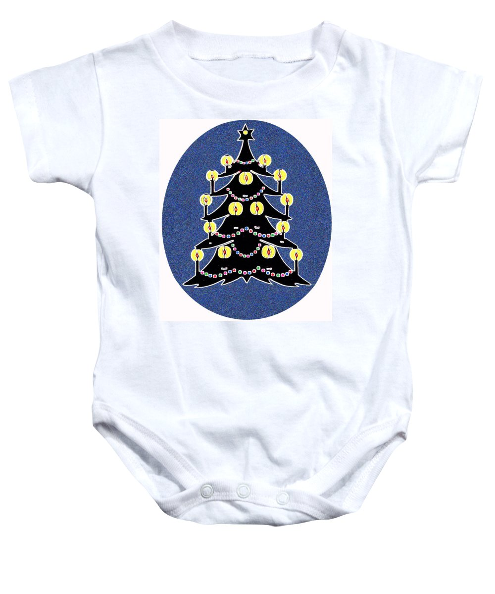 Christmas Baby Onesie featuring the digital art Candlelit Christmas Tree by Nancy Mueller