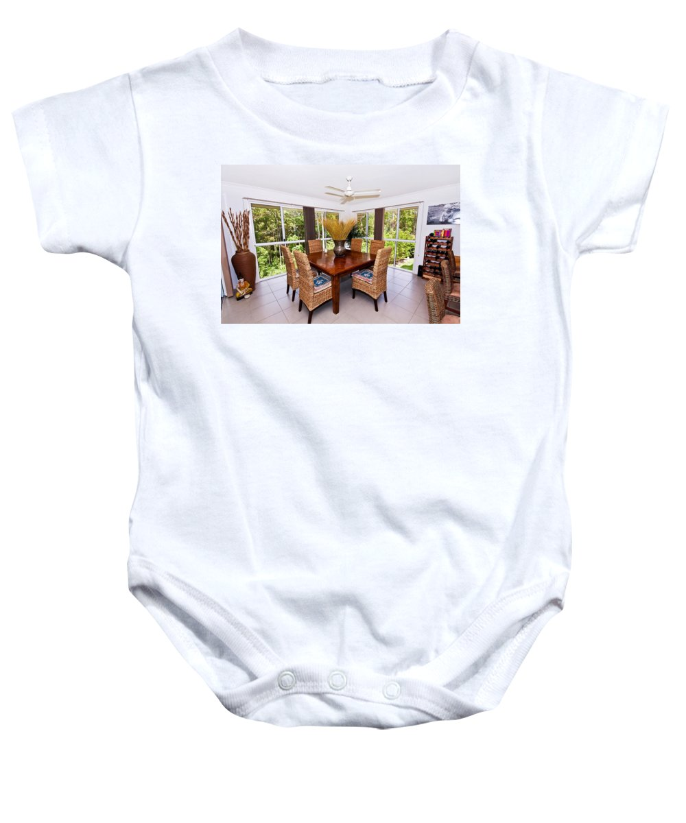 6 Baby Onesie featuring the photograph Cane Dining Setting by Darren Burton