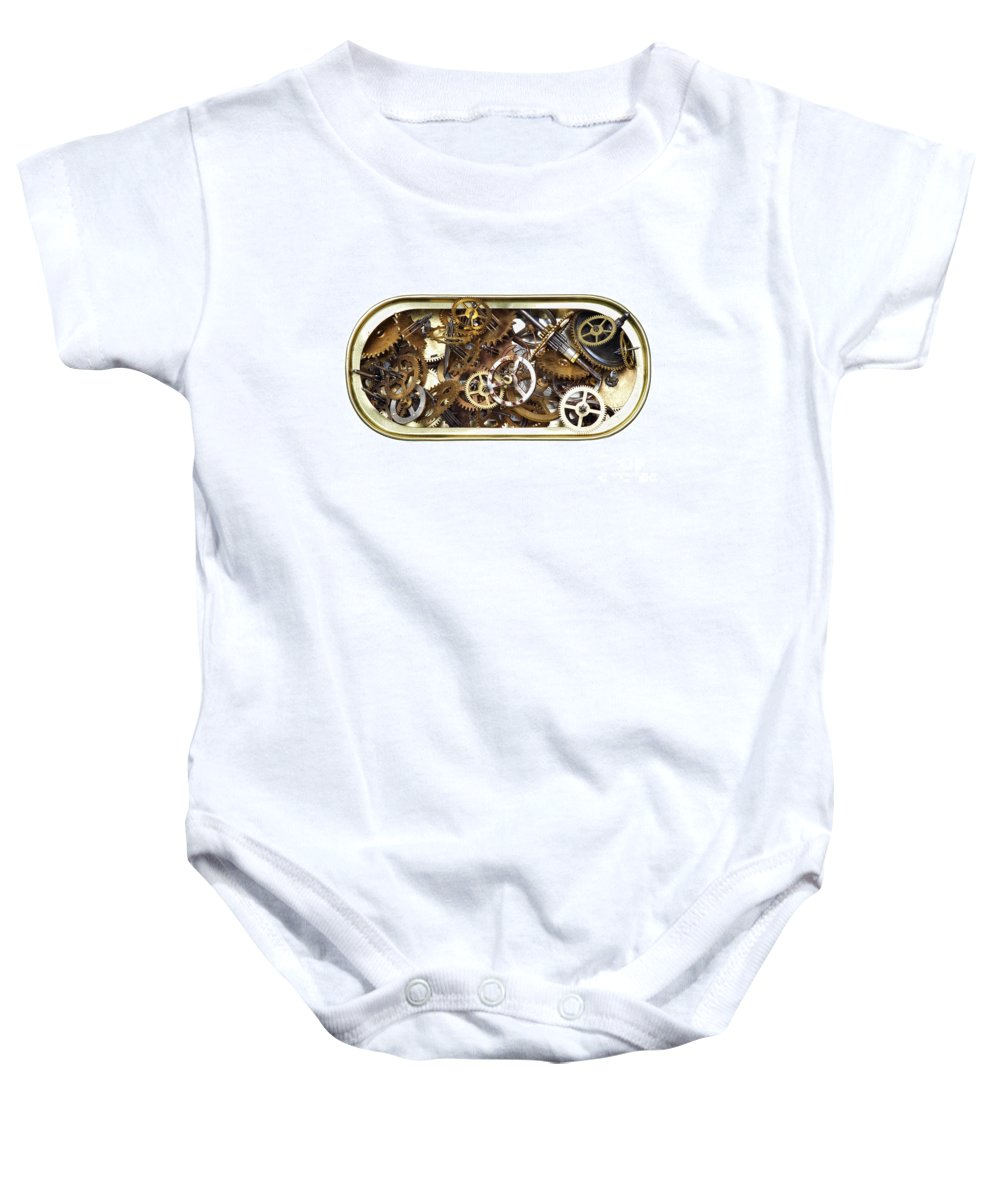 Clockwork Baby Onesie featuring the photograph Canned Time by Michal Boubin