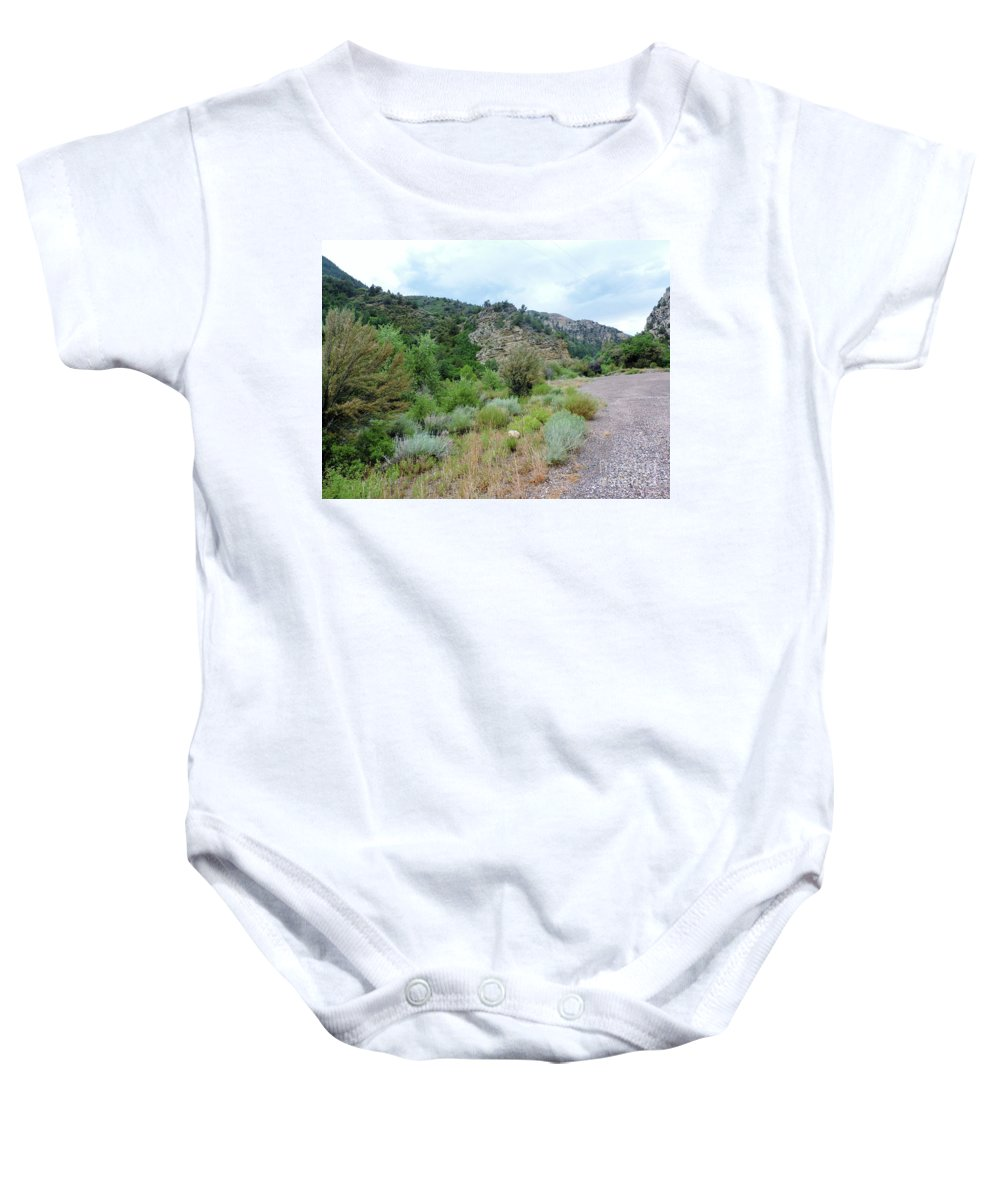 Canyon Road Baby Onesie featuring the photograph Canyon Road by Roberts Photography