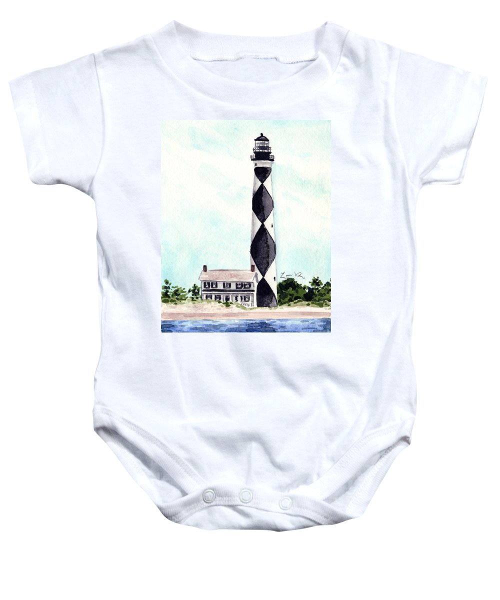 Cape Lookout Lighthouse Baby Onesie featuring the painting Cape Lookout Lighthouse Outer Banks North Carolina by Laura Row
