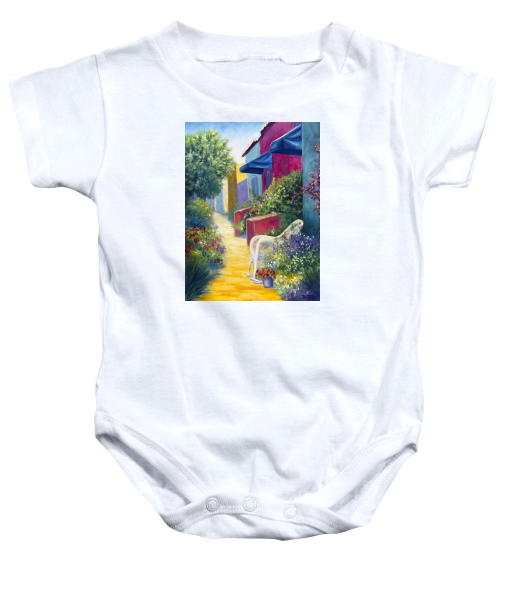 Capitola Baby Onesie featuring the painting Capitola Dreaming by Shannon Grissom