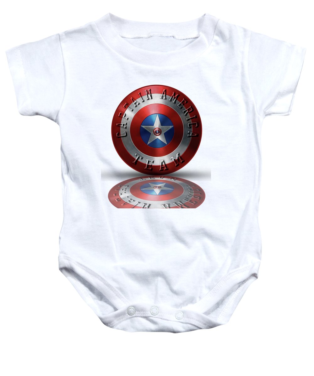 4bfbf41e25a7 Captain America Shield Baby Onesie featuring the painting Captain America  Team Typography On Captain America Shield