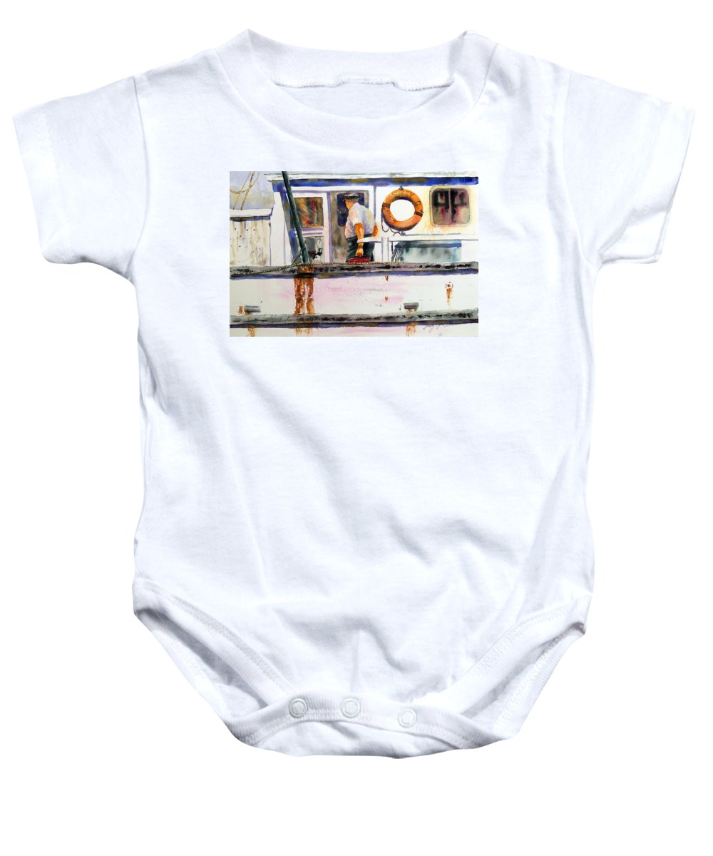 Shrimp Boat Baby Onesie featuring the painting Captain Of The Lady Suzzy Q by Shirley Sykes Bracken